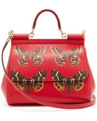 Dolce & Gabbana - Sicily Medium Butterfly Print Dauphine Leather Bag - Lyst