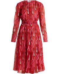 Valentino - X Zandra Rhodes Silk-georgette Dress - Lyst