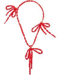 Simone Rocha - Bow Embellished Pendant Beaded Necklace - Lyst