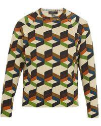 Prada - Geometric-print Wool Jumper - Lyst