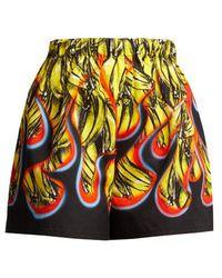 Prada - Banana And Flame-print Cotton Shorts - Lyst