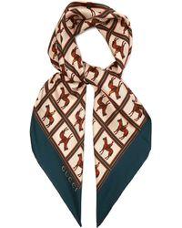 Gucci - Jockey Print Silk Twill Scarf - Lyst