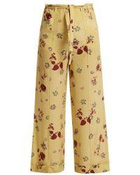 Valentino - Floral-print Silk Crepe De Chine Trousers - Lyst