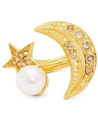 Oscar de la Renta - Moon And Star Crystal-embellished Ring - Lyst
