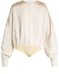 Esteban Cortazar - Satin-panelled Striped Bodysuit - Lyst