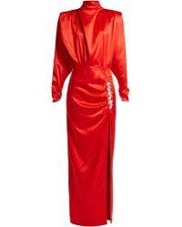 Alessandra Rich - Crystal Embellished Silk Satin Gown - Lyst
