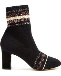 Tabitha Simmons - Anna Floral-embroidery Sock Ankle Boot - Lyst
