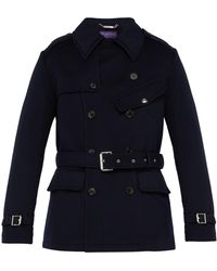 Ralph Lauren Purple Label - Double Breasted Melton Wool Trench Coat - Lyst