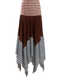 Loewe - Asymmetric Pleated Gingham Handkerchief Skirt - Lyst