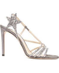 7f8ffc131f96 Jimmy Choo - Lynn 100 Metallic Leather Sandals - Lyst