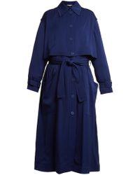 Stella McCartney - Caban Elasticated Waist Crepe Trench Coat - Lyst