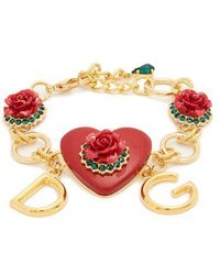 Dolce & Gabbana - Heart And Rose-embellished Bracelet - Lyst