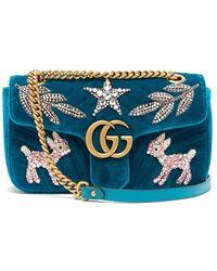 Gucci - Gg Marmont Embellished Velvet Cross Body Bag - Lyst