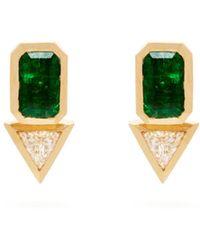 Azlee - 18kt Gold, Emerald & Diamond Studs - Lyst