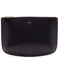 A.P.C. - Sarah Snakeskin-effect Leather Pouch - Lyst