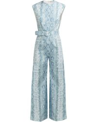 fab2918008c1 Emilia Wickstead Leslie V-Neck Duchess-Satin Jumpsuit in White - Lyst
