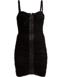 Dolce & Gabbana - Ruched Tulle Lace Up Corset Dress - Lyst