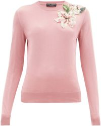 Dolce & Gabbana - Lily Appliqué Silk Sweater - Lyst