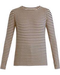 Vince - Striped Silk-blend Long-sleeved T-shirt - Lyst