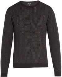 Giorgio Armani - Herringbone Knit Wool Blend Sweater - Lyst