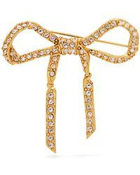 Oscar de la Renta Crystal Embellished Bow Brooch