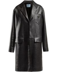 Prada Logo Plaque Single Breasted Leather Coat