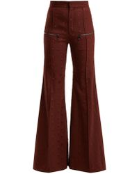 Chloé - Little Horses High Rise Wool Blend Trousers - Lyst
