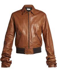 Saint Laurent   Extra Long-sleeves Leather Bomber Jacket   Lyst