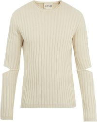 Helmut Lang - Cut-out Sleeve Ribbed-wool Jumper - Lyst