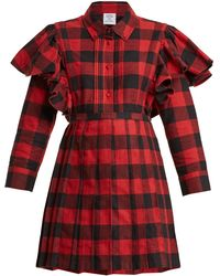 Vetements - Point-collar Checked Cotton-flannel Dress - Lyst
