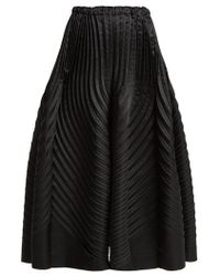 Issey Miyake - Pleated Satin Wide Leg Trousers - Lyst