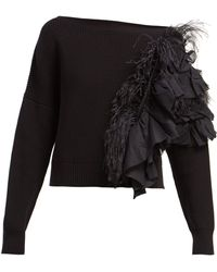 N°21 - Feather And Ruffle Trimmed Jumper - Lyst