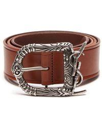 Saint Laurent - Celtic Buckle Leather Belt - Lyst