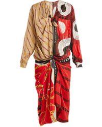 Balenciaga - Knotted Scarf Midi Dress - Lyst