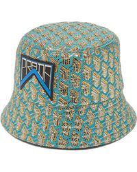 07618ede9ae Prada Houndstooth Wool-tweed Bucket Hat in Green - Lyst