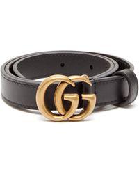 328a83c78 Gucci Gg Leather Belt in Black - Lyst