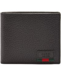 Gucci | Web-trim Grained-leather Wallet | Lyst