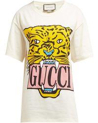 8c09e53b3c1 Gucci - Tiger Motif Printed Cotton T Shirt - Lyst