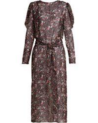 Attico - Livia Rose Print Silk Chiffon Dress - Lyst
