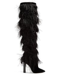 Saint Laurent - Yeti Feather-embellished Over-the-knee Boots - Lyst