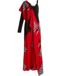 Diane von Furstenberg - Farren Asymmetric Floral Print Stretch Silk Dress - Lyst