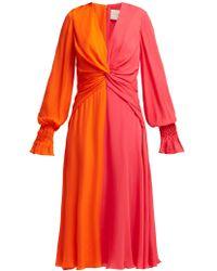 Carolina Herrera - Bi Colour Knotted Silk Dress - Lyst