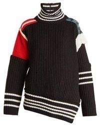 Balenciaga - Patchwork Wool High-neck Jumper - Lyst