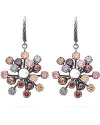 Bottega Veneta - Crystal Floral Drop Earrings - Lyst