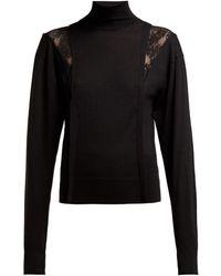 Chloé - Lace Insert High Neck Wool Blend Sweater - Lyst