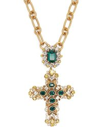 Dolce & Gabbana - Crystal Embellished Cross Necklace - Lyst