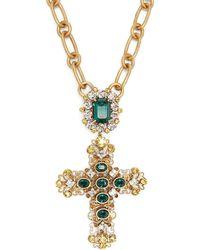 Dolce & Gabbana - Crystal-embellished Cross Necklace - Lyst