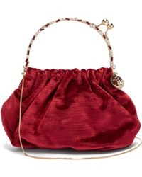 Rosantica By Michela Panero Versailles Crystal And Velvet Clutch - Red