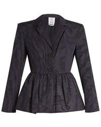 Rosie Assoulin - Peplum-hem Silk And Wool-blend Moire Jacket - Lyst