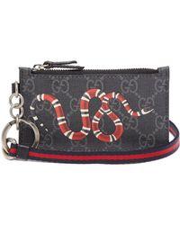 Gucci - Gg Supreme Snake Print Cardholder - Lyst